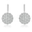 Sterling Silver Rhodium Plated and micro-pave flower CZ Dangle Earrings
