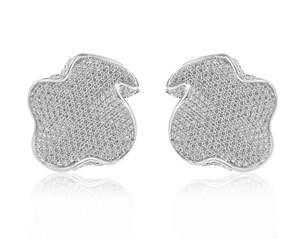 Sterling Silver Rhodium Plated and CZ Flat Wavy Stud Earrings