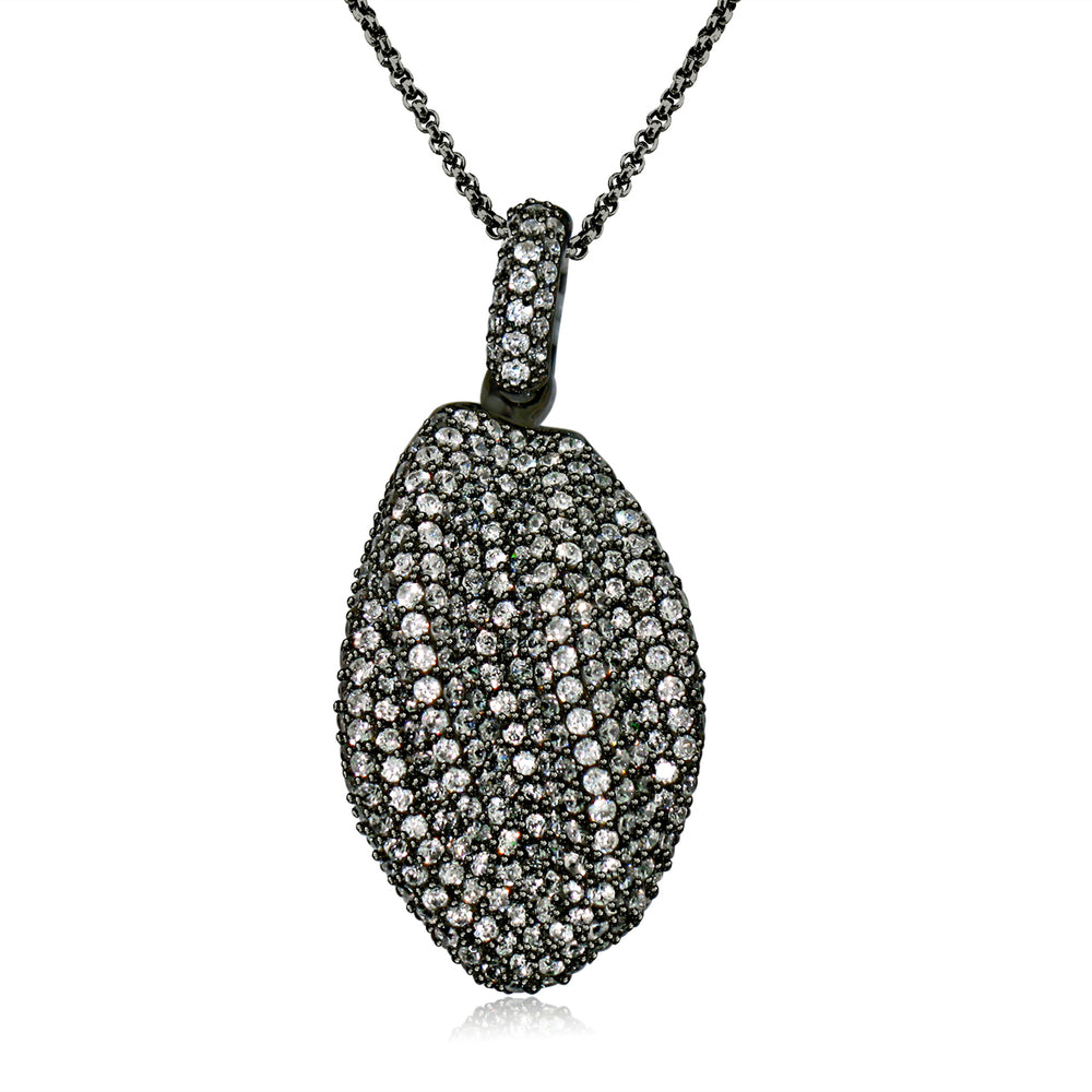 Sterling Silver Black Rhodium Plated and CZ Nugget Fashion Necklace