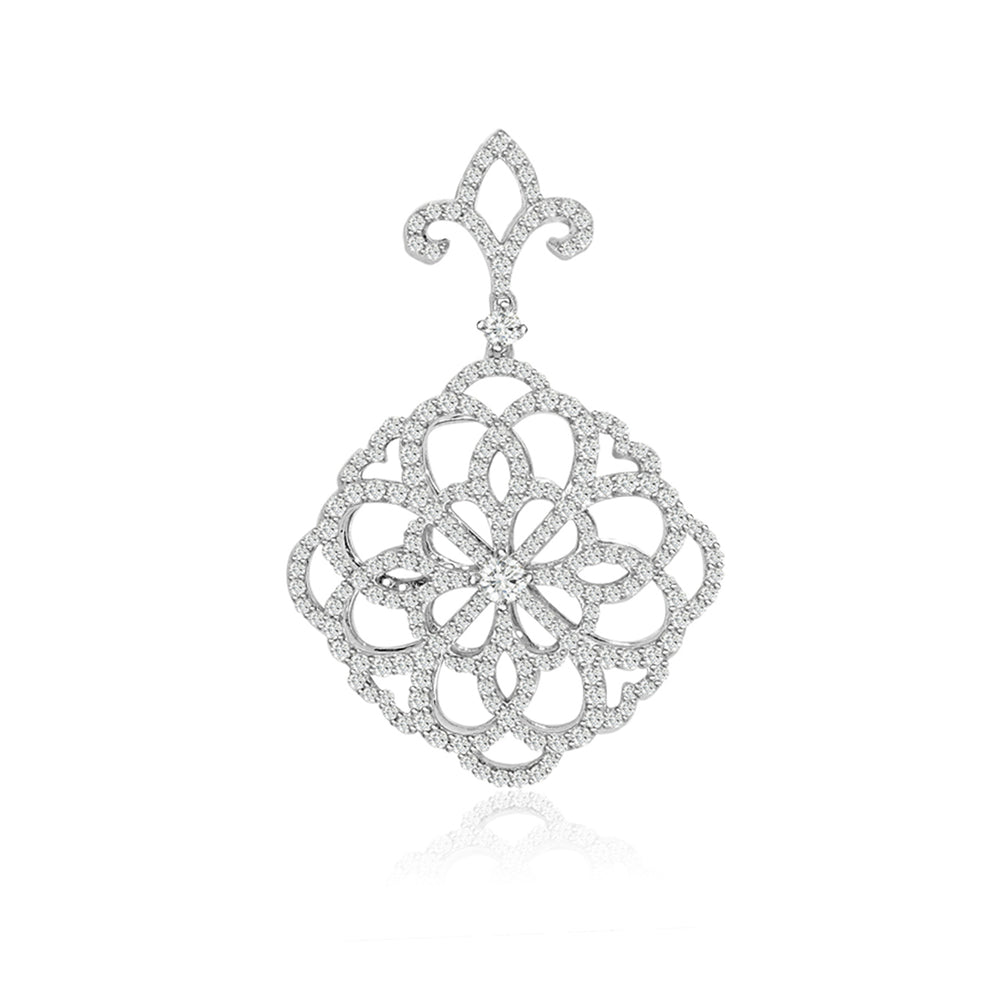Sterling Silver Rhodium Plated and CZ Fashion Necklace