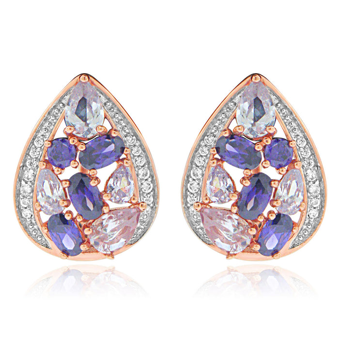 Sterling Silver Rose Gold Plated with Multi-Color CZ Teardrop Earrings