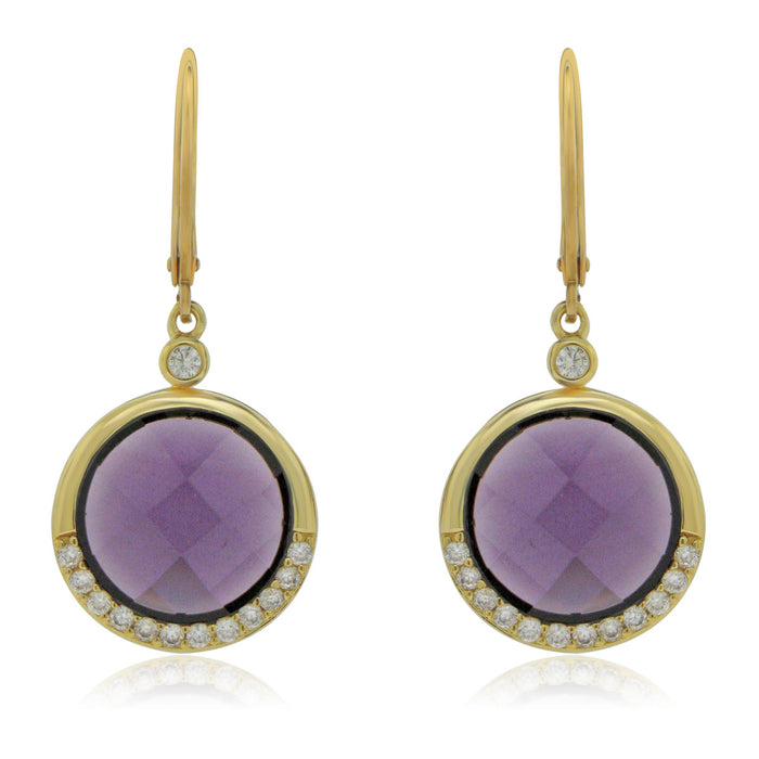 Sterling Silver Gold Plated with Simulated Amethyst and CZ Dangle Earrings