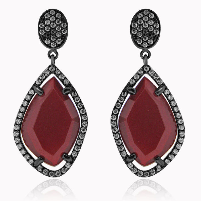 Sterling Silver Black Rhodium Plated with Simulated Gemstone and CZ Dangle Earrings