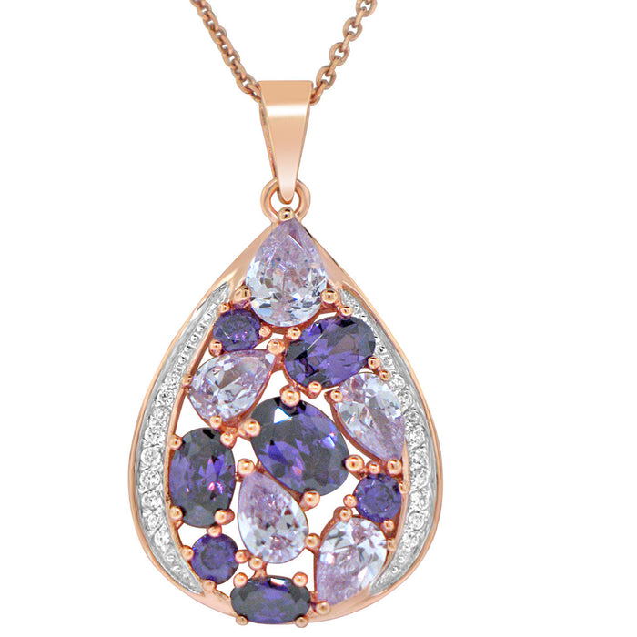 Sterling Silver Rose Gold Plated with Multi-Color CZ Teardrop shape Necklace