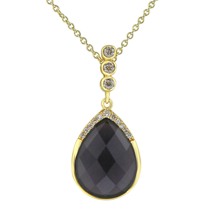 Sterling Silver Gold Plated with Simulated Amethyst and CZ Necklace
