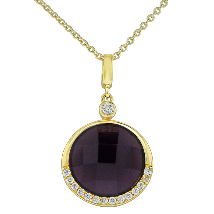 Sterling Silver Gold Plated Round with  Simulated Amethyst and CZ Necklace