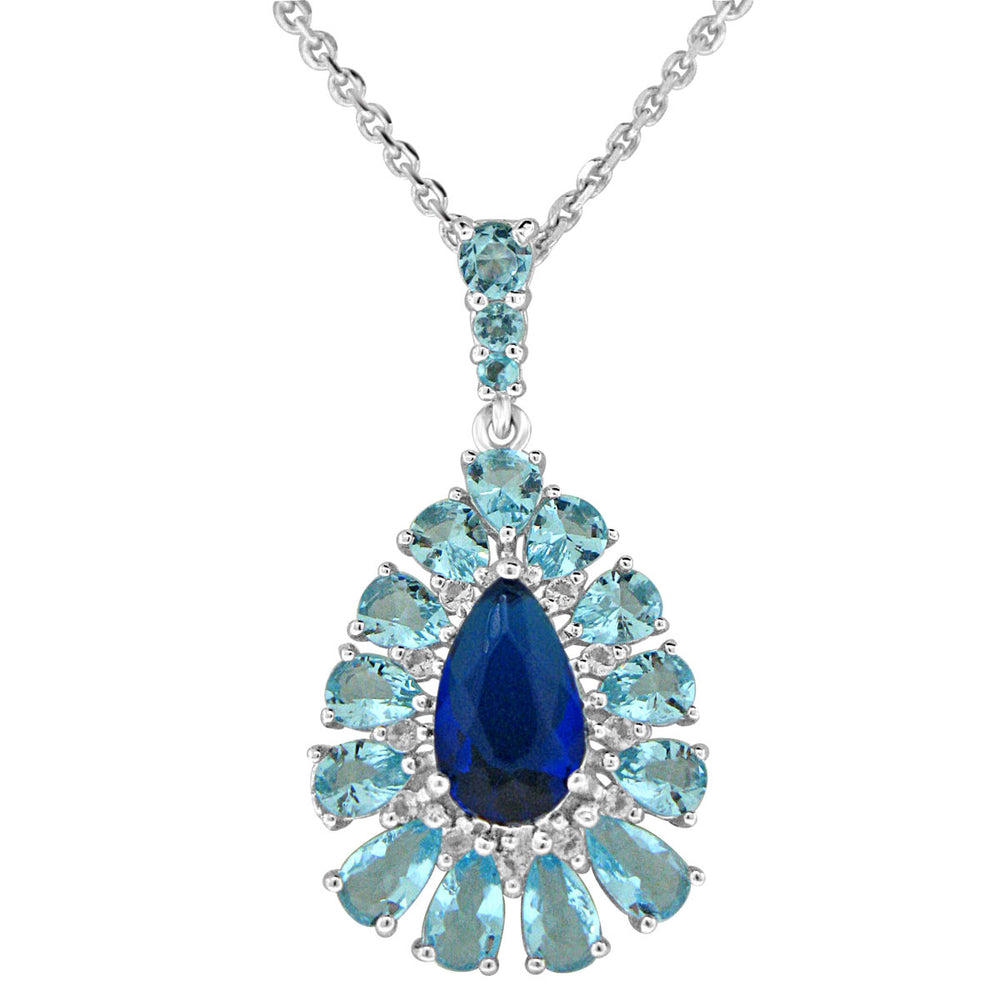Sterling Silver Rhodium Plated with Simulated Sapphire and Blue Topaz Necklace