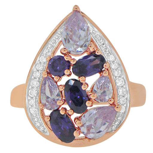Sterling Silver Rose Gold Plated with Multi-Color CZ Teardrop Shape Ring