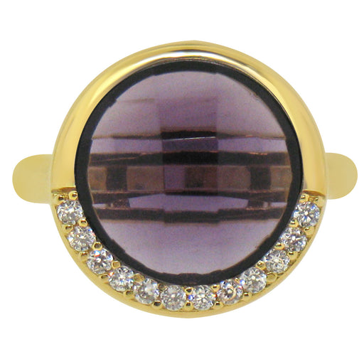 Sterling Silver Gold Plated with Round Simulated Amethyst and CZ Ring