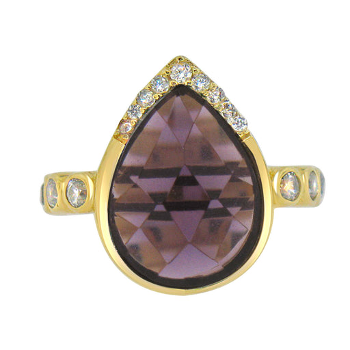 Sterling Silver Gold Plated with Teardrop Simulated Amethyst and CZ Ring