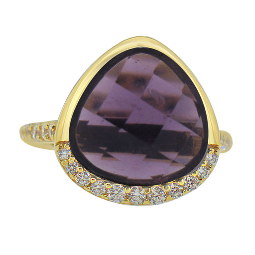 Sterling Silver Gold Plated with Simulated Amethyst and CZ Ring