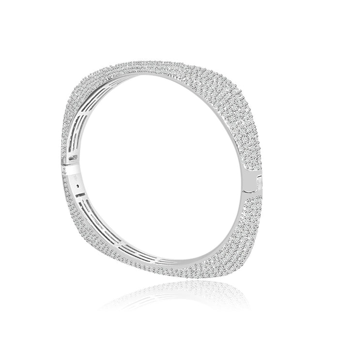 Sterling Silver Rhodium Plated and CZ Square Bangle
