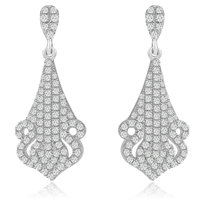 Sterling Silver Rhodium Plated and CZ short Dangle Earrings