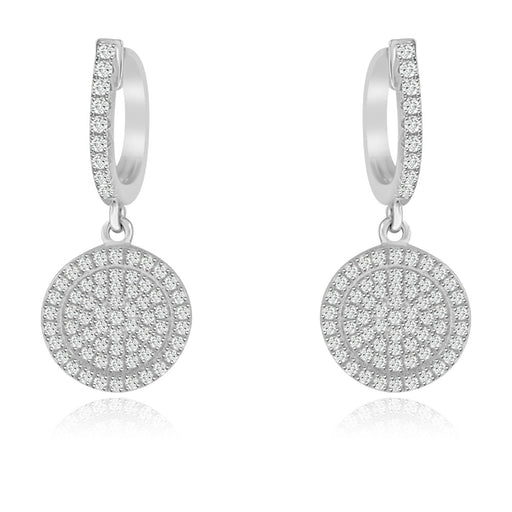 Sterling Silver Rhodium Plated and micro-pave CZ Circle Dangle Earrings