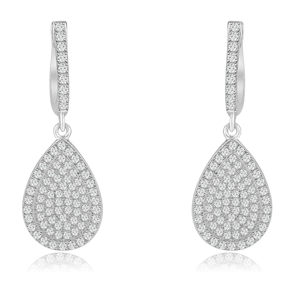 Sterling Silver Rhodium Plated and micro-pave CZ Pear shape Dangle Earrings