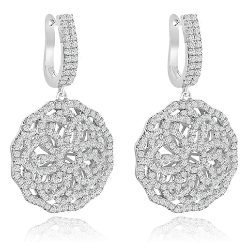Sterling Silver Rhodium Plated and CZ Flower Dangle Earrings
