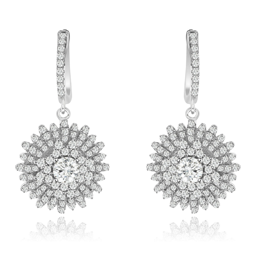 Sterling Silver Rhodium Plated and CZ Micro-pave Bursting Sun Dangle Earrings