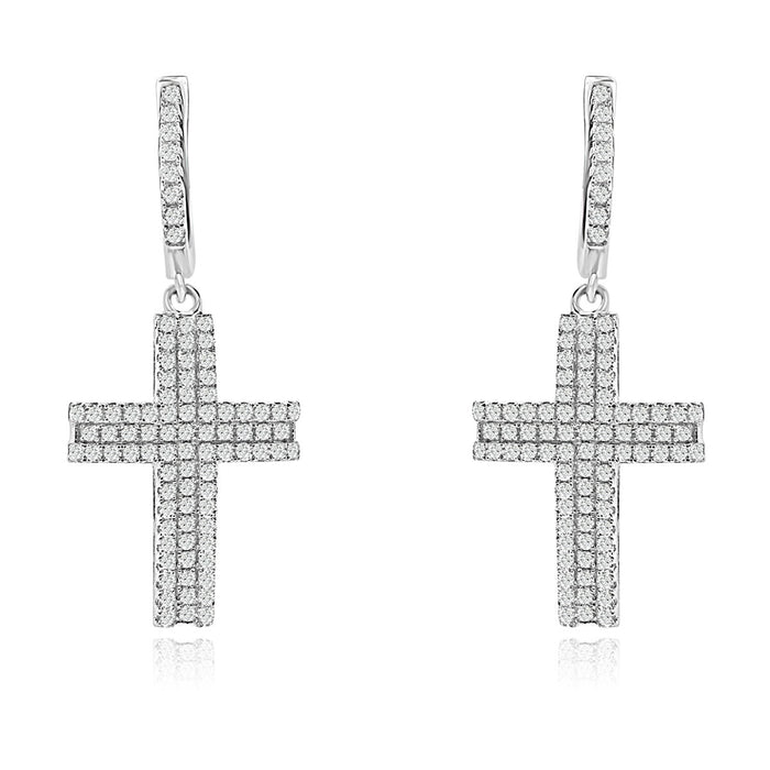 Sterling Silver Rhodium Plated and CZ Cross Earrings