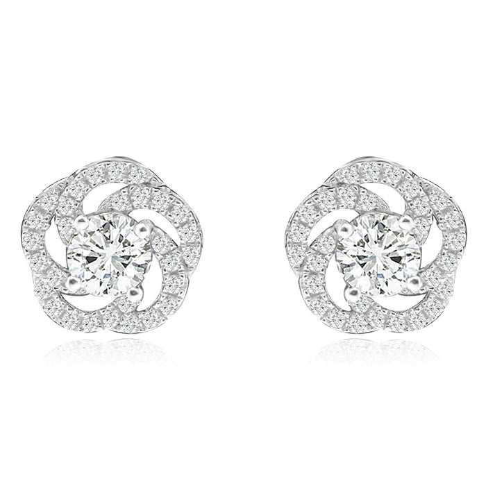Sterling Silver Rhodium Plated and CZ Flower Screw Back Stud Earrings