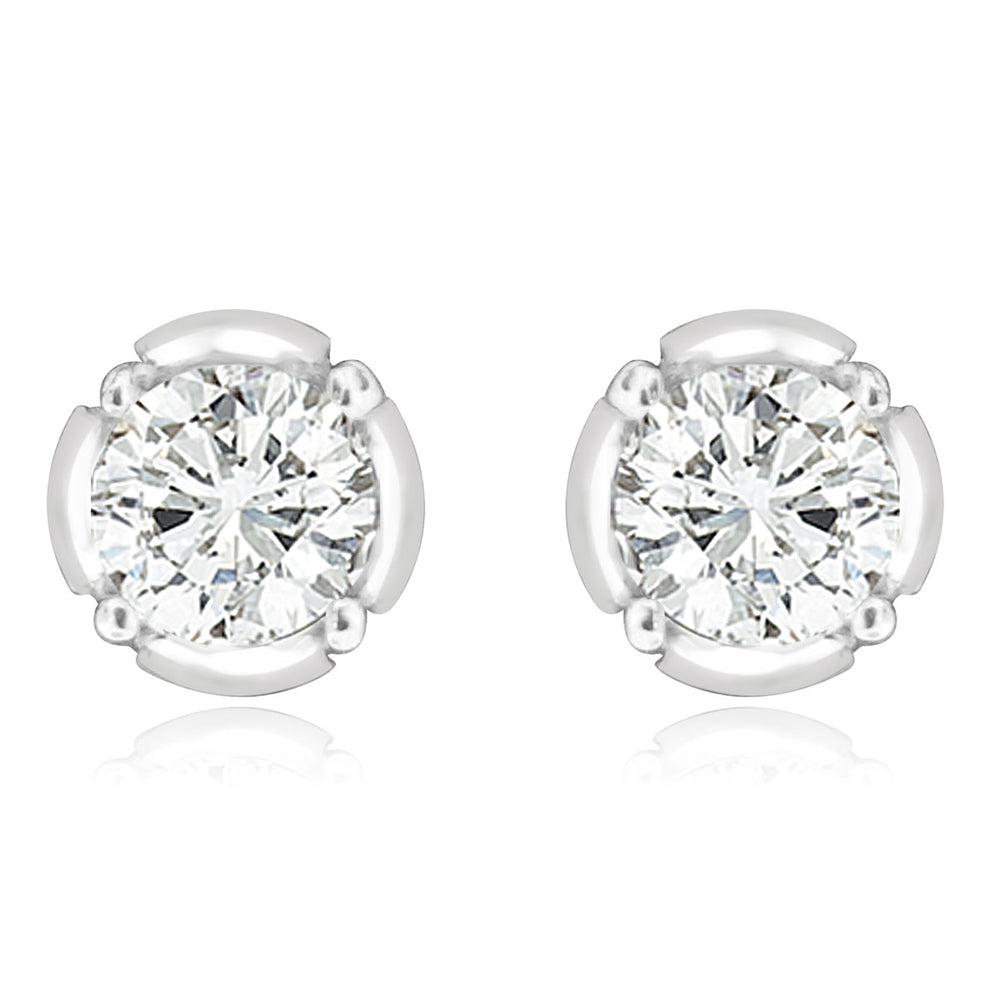 Sterling Silver Rhodium Plated and CZ Screw Back Stud Earrings