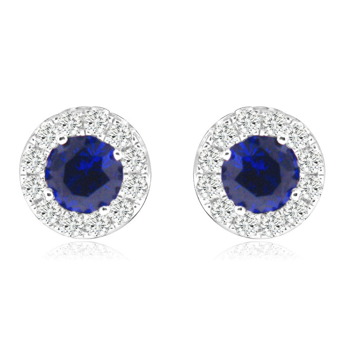 Sterling Silver Rhodium Plated with Simulated Gemstone and CZ Halo Screw Back Stud Earrings