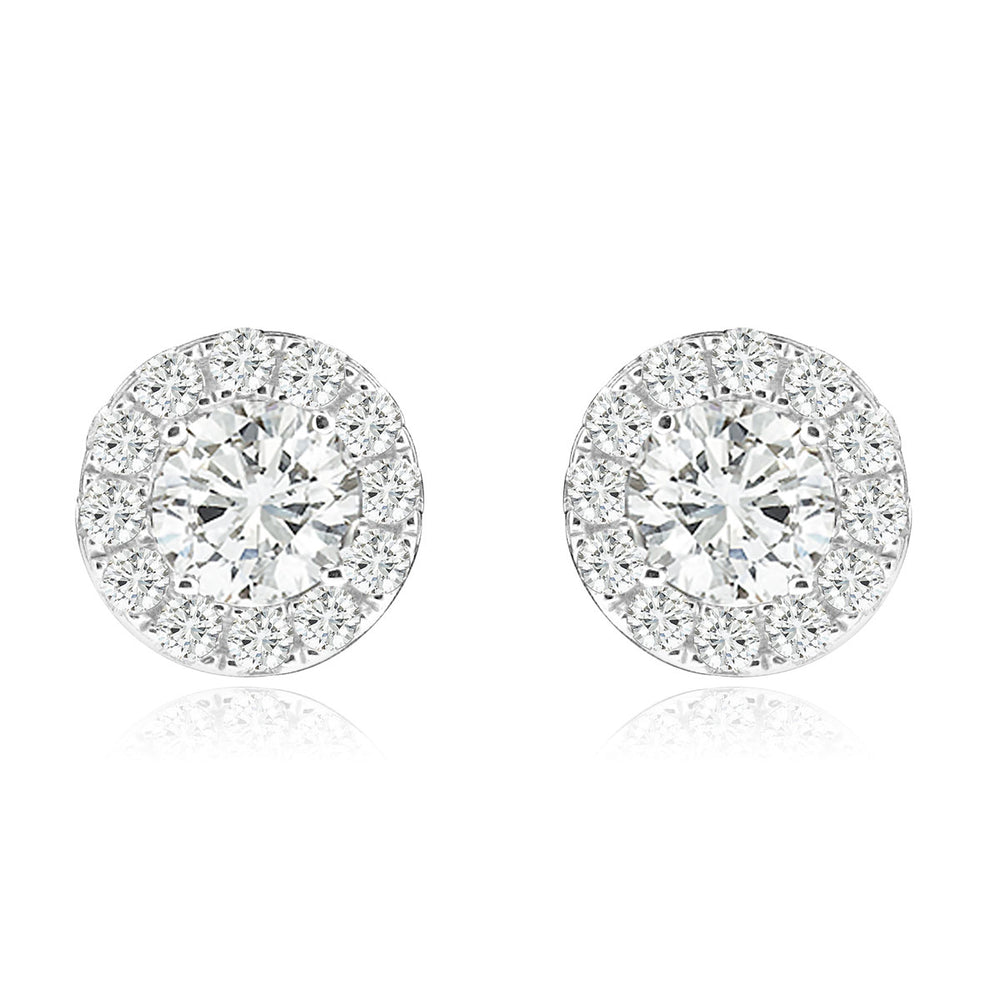 Sterling Silver Rhodium Plated and CZ Halo Screw Back Stud Earrings
