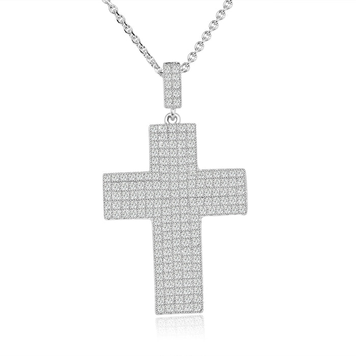 Sterling Silver Rhodium Plated and micro-pave CZ Necklace