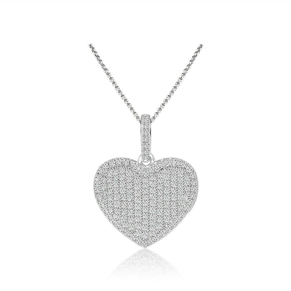 Sterling Silver Rhodium Plated and micro-pave CZ Heart Necklace