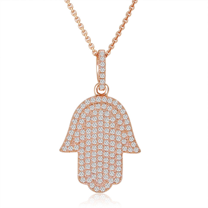 Sterling Silver Rhodium Plated and micro-pave CZ Chamsah Necklace