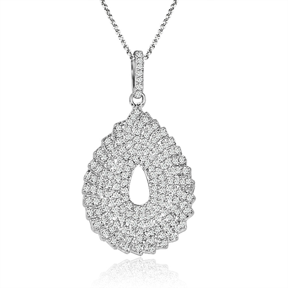 Sterling Silver Rhodium Plated and micro-pave Pear shape CZ Necklace