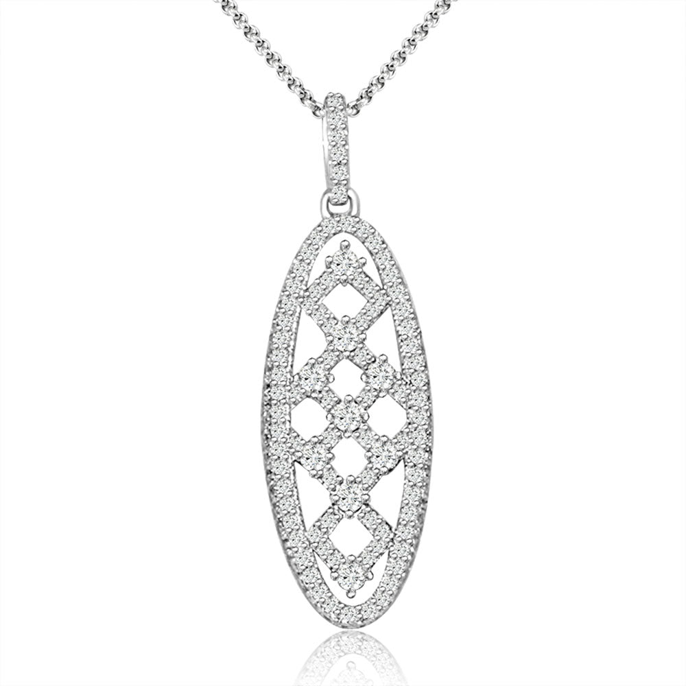 Sterling Silver Rhodium Plated and CZ Necklace