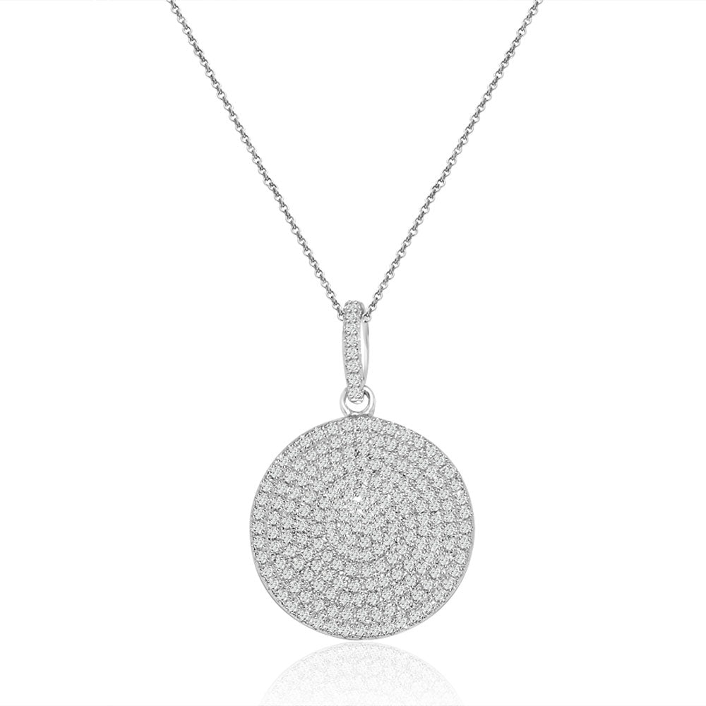 Sterling Silver Rhodium Plated and micro-pave Circle CZ Necklace