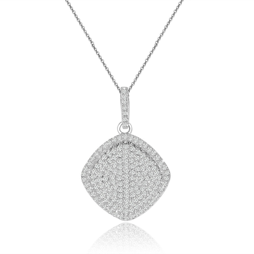 Sterling Silver Rhodium Plated and micro-pave Cushion CZ Necklace
