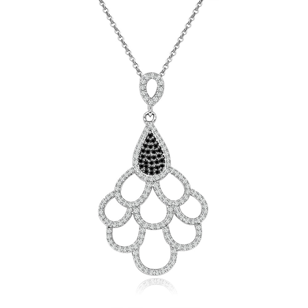 Sterling Silver Rhodium Plated Black and White CZ Necklace