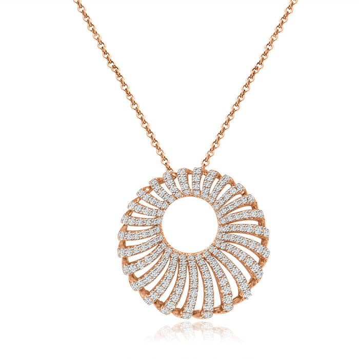 Sterling Silver Rose Gold Plated and CZ Necklace