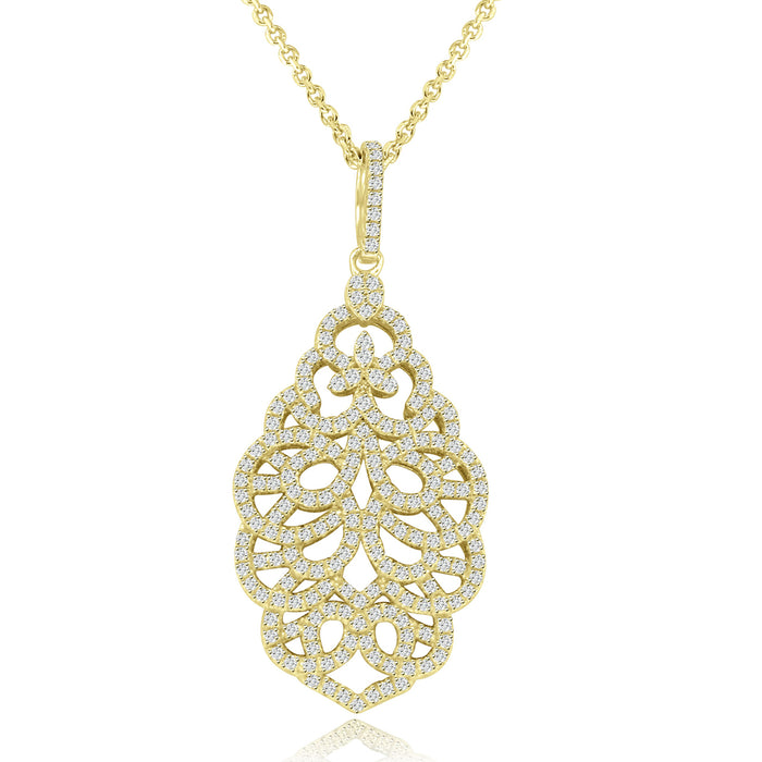 Sterling Silver Rhodium Plated with CZ Ornate Necklace