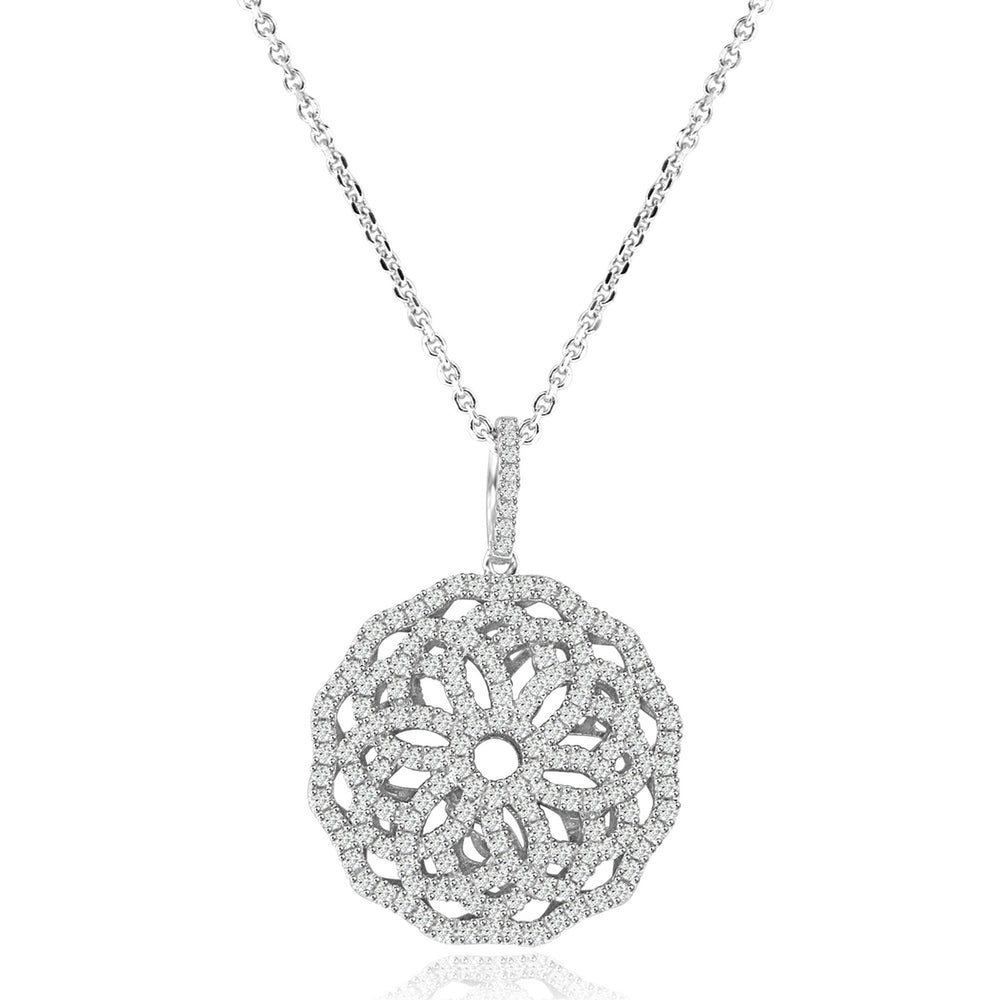 Sterling Silver Rhodium Plated and CZ Ornate Flower Necklace
