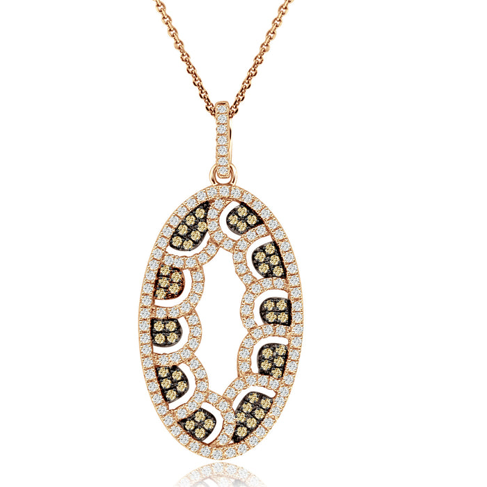 Sterling Silver Rhodium Plated and Oval CZ Necklace