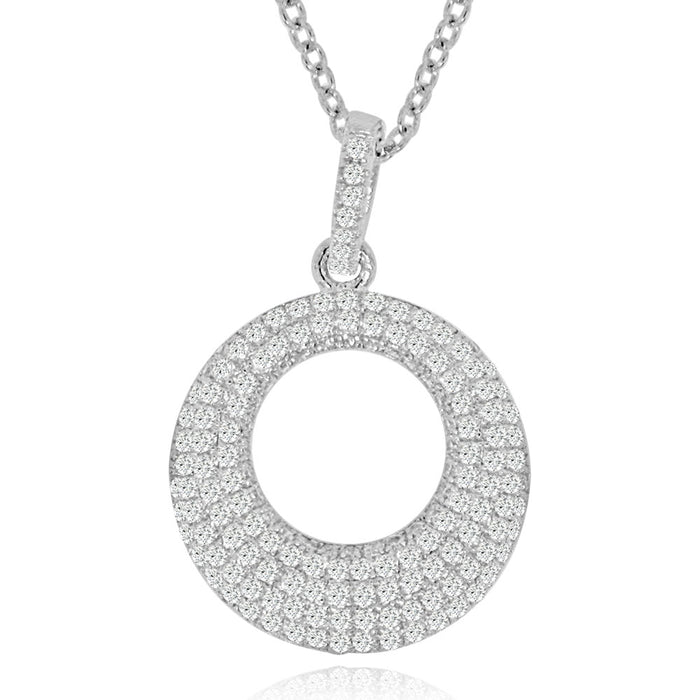Sterling Siler Rhodium Plated and CZ Round Necklace