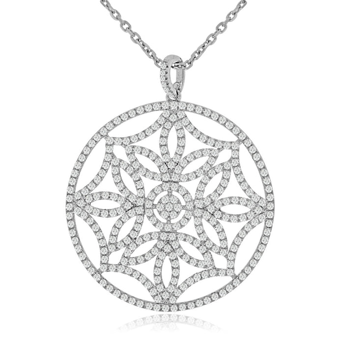 Sterling Silver Rhodium Plated and CZ Flower Wheel Necklace
