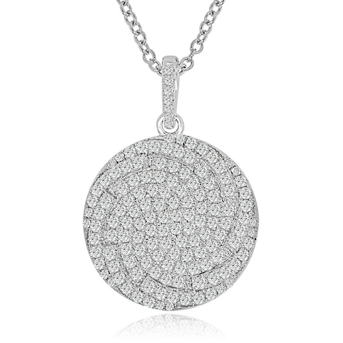 Sterling Silver Rhodium Plated and CZ Circular Necklace