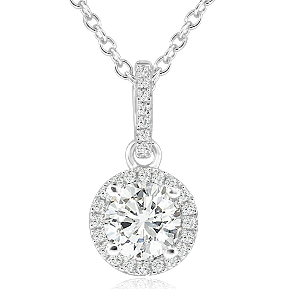 Sterling Silver Rhodium Plated and CZ Halo Necklace