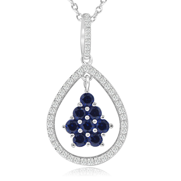 Sterling Silver Rhodium Plated with Simulated Sapphire and CZ Teardrop Necklace