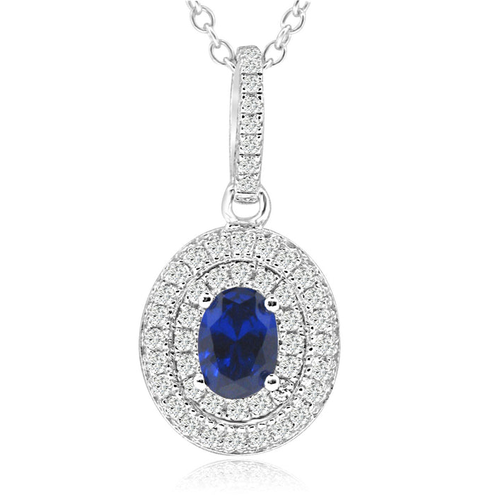 Sterling Silver Rhodium Plated with oval Simulated Sapphire and CZ Halo Necklace