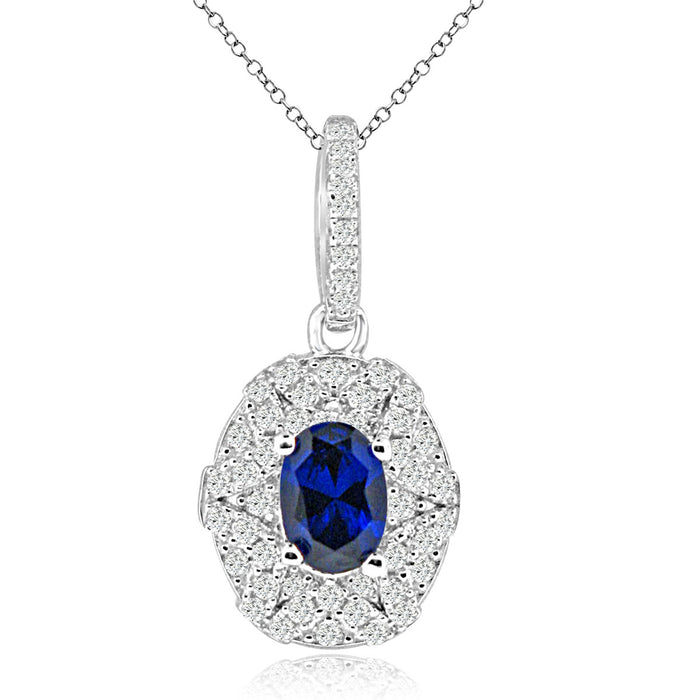 Sterling Silver Rhodium Plated with Simulated Sapphire and CZ Necklace