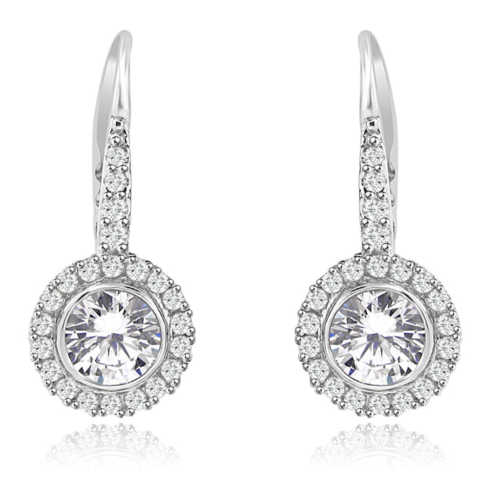 Sterling Silver Rhodium Plated and Round shape CZ Halo Drop Dangle Earrings