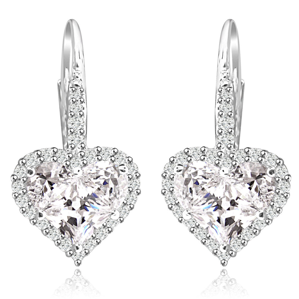 Sterling Silver Rhodium Plated and Heart shape CZ Halo Drop Dangle Earrings