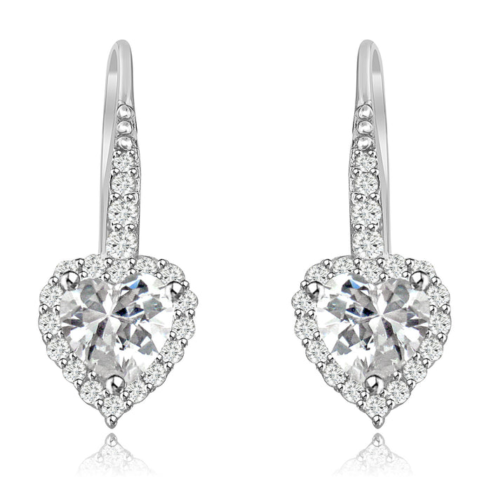 Sterling Silver Rhodium Plated and small Heart shape CZ Halo Drop Dangle Earrings