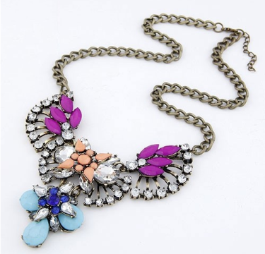 Purple Stone Encrusted Flower Statement Necklace