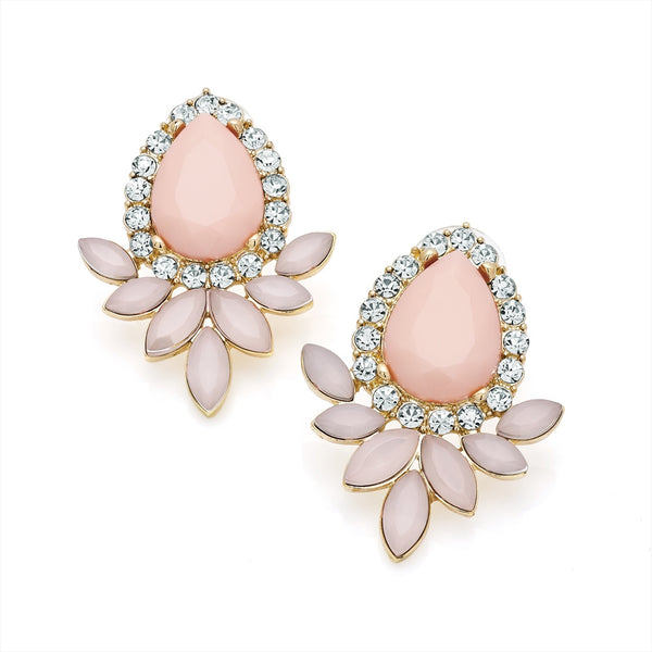 Gold Two Tone Pink Earring